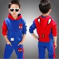 Детская одежда 2 шт. весной установить 2017 ребенок весной и осенью набор Человек-Паук детский спортивный свитер twinset дети мальчики