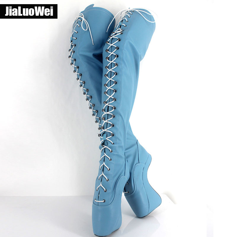 Extreme High Heel 18cm 7 Heel lace up Patent leather Ballet Boots Unisex Hoof Heelless Sexy
