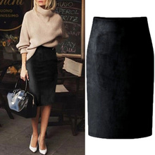 Women 2019 Fashion Elastic High Waist Office Lady Bodycon Skirts Saias Sexy Multi Color Suede Midi Pencil Skirt