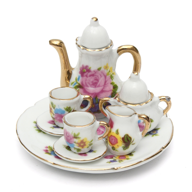 aeProduct.getSubject()  sc 1 st  AliExpress.com & KiWarm 8pcs/set Miniatures Porcelain Tea Set Teapot Vintage Coffee ...