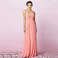 Simple Wedding Party Dress Maid of Honor A line Sweetheart Pleated Cheap Plus Size Chiffon Peach
