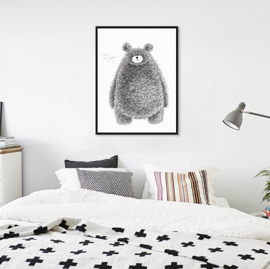 Moderní Černá Bílá Roztomilá Zvířata Medvěd Velký umělecký tisk Plakát Školka Nástěnná malba Obraz na plátně Bez rámečku Severská dětská pokojová výzdoba