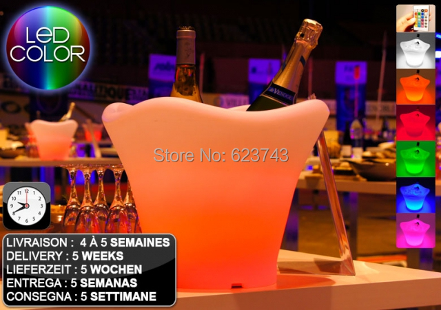 Free Shipping Color Changeable Large Quadrange Seau A Champagne Bucket LED Multicolor,LED Ice Bucket Remote Controller + Adapter