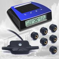 CARCHET TPMS Solar Power Wireless LCD Tire Pressure Monitor System TPMS +6 External Sensor Tire Pressure Alarm DIY for motorhome