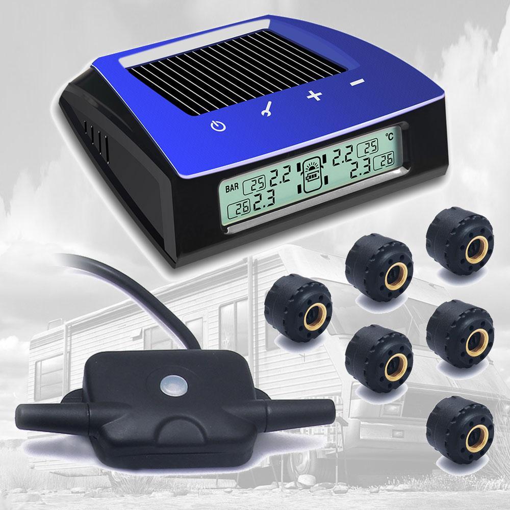 Carchet TPMS Солнечный Мощность Беспроводной ЖК дисплей шин Давление Мониторы Системы TPMS + 6 внешних Сенсор Охранные системы и безопасность DIY для