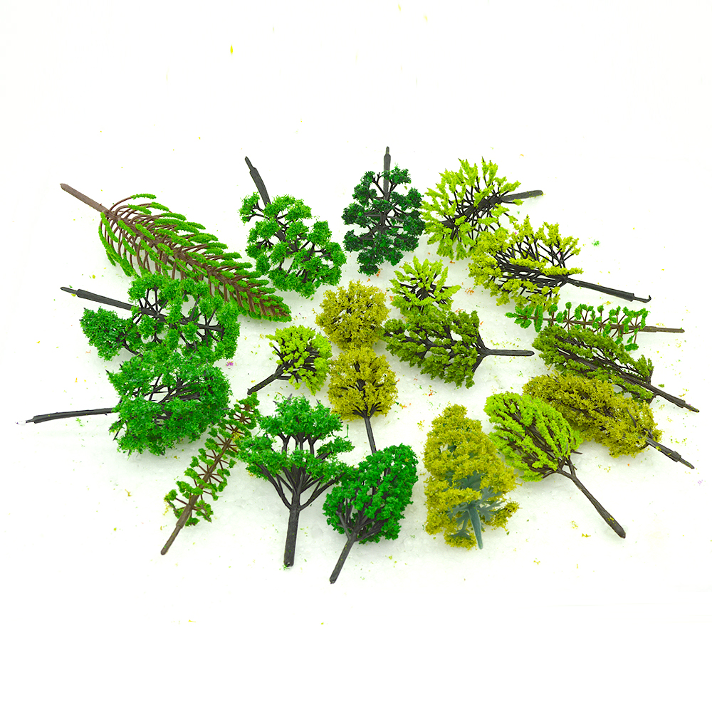 3-12CM HO N OO Scale ABS Model Tree Green Color Mixed Architectural Plastic Train Miniature Landscape Layout Materials