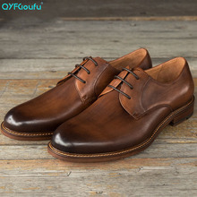 QYFCIOUFU 2019 Luxury Genuine Leather Mens Dress Shoes Lace-up Business Casual Men Formal Vintage Flat