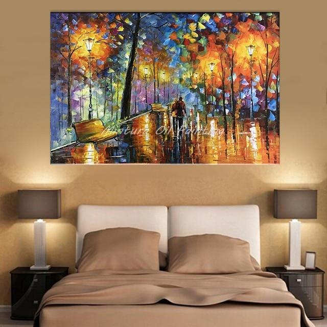 Große Handgemalte Liebhaber Regen Straße Baum Lampe Landschaft Ölgemälde  Auf Leinwand Wand Kunst Wand Bilder Für
