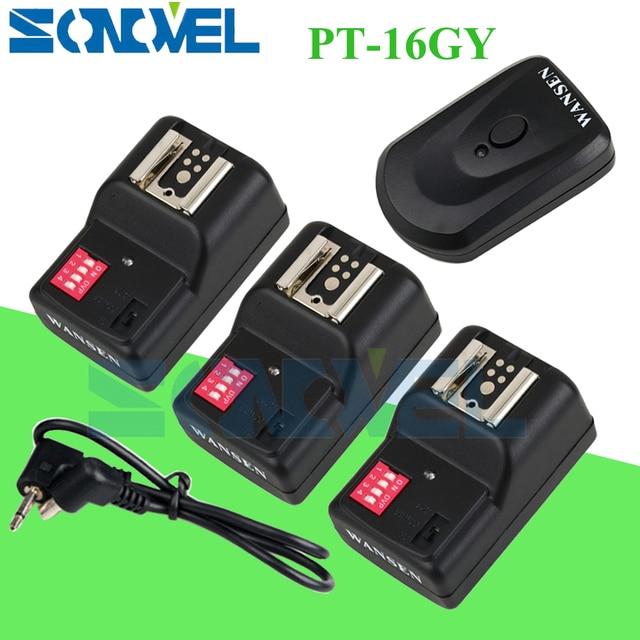 WanSen PT 16GY 16 Kênh Wireless Flash Trigger Transmitter SET với 3 Receivers cho Canon Nikon Pentax Olympus Yongnuo Sigma
