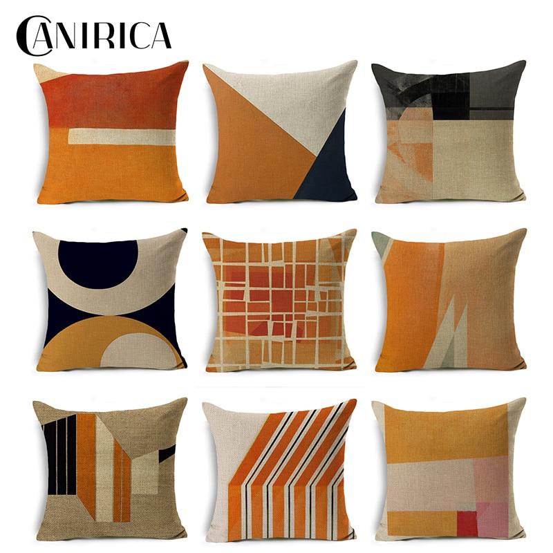 canirica decorative pillows home decor linen pillow cover living room decoration sofa orange pillow covers kussenhoes home decor