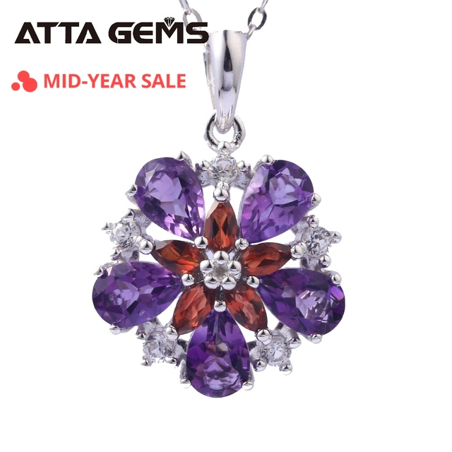 Natural Amethyst Sterling Silver Women's Pendants for Wedding Birthday Party Gifts 3 Carats Natural Crystal Jewelry Brand