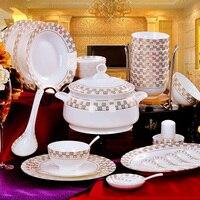Jingdezhen ceramiczne naczynia z porcelany kostnej stołowe 56 danie miska garnitur