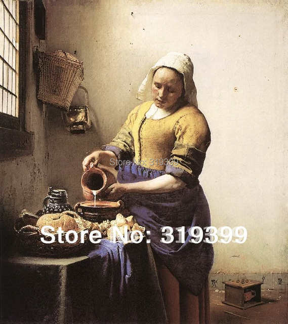 272fcd067d58e Oil Painting Reproduction on linen canvas,The milkmade by Johannes Vermeer  ,Free Shipping via FeDex or DHL,100% handmade,museum