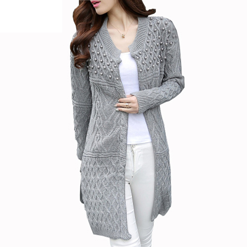 Women Long Cardigan 2019 Autumn Winter Bead Pearl Long Knitted Sweaters Outwear Long-Sleeve Casual Loose Female Sweater Cardigan