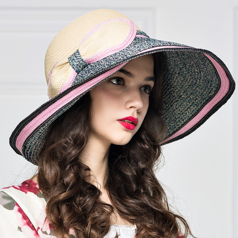 Fashion Hit Color Woman Big Along The Hat Spring Summer Sun Hat Bow Hat Holiday Beach Sun Hat