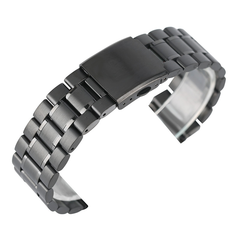 цена на Fashion 22mm Solid Link Strap Adjustable Stainless Steel Watch Band Black/Silver Luxury Bracelet Clasp Replacement For Watches