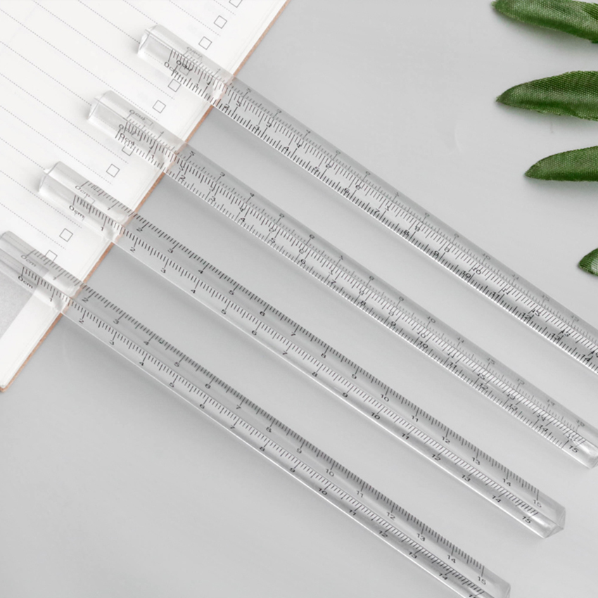 15cm Transparent Straight Ruler Students Stationery Simple Triangular Rulers Kids Scale on Both Sides Acrylic Measuring Tools
