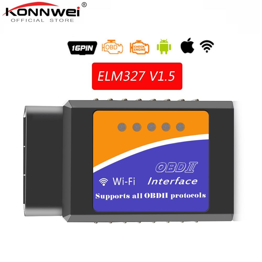 Trasporto Libero OBD2 WIFI ELM327 V 1.5 Scanner per il iphone IOS Auto OBDII Strumento di Scansione OBD 2 ODB II ELM 327 V1.5 WIFI ODB2 autoscanner