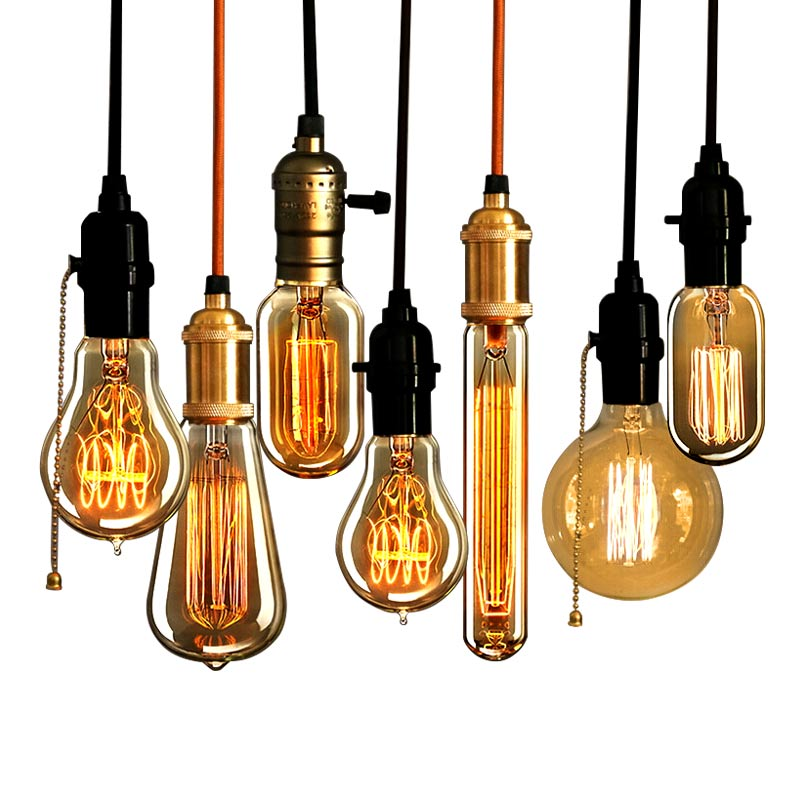 E27 Vintage Retro Edison Bulbs Spiral Light Handmade Glass Industrial Style T30-225 G80 Tungsten Bulb Pendant Lamps Lighting