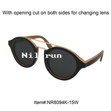 double metal nose bridge round black wood frame sunglasses