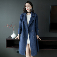 Women's Basic Essential Double Breasted Mid Long Wool Blend Pea Coat runway Solid Camel coats