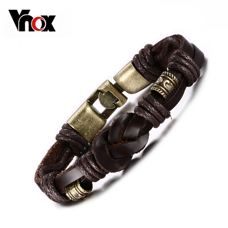 Vnox Vintage Alloy Braided Leather Bracelet for Men Jewelry 8.5