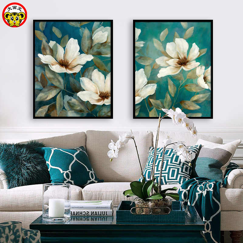 DIY colorings pictures by numbers with colors plant flower picture drawing painting by numbers framed Home wall decor Two pieces