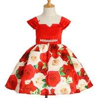 Blumenmädchenkleider für Hochzeit Kommunion Kleid Kleine Kinder Abendgesellschaft Ballkleid Blumendruck Pageant Kleider kinder kostüm