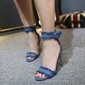 Mulheres Sapatos de Verão Gladiador Sandálias de Salto Alto 2017 Marca de Moda Jeans Fivela Cinta Sandlias Azul preto Sexy Ladies Sapatos YD499