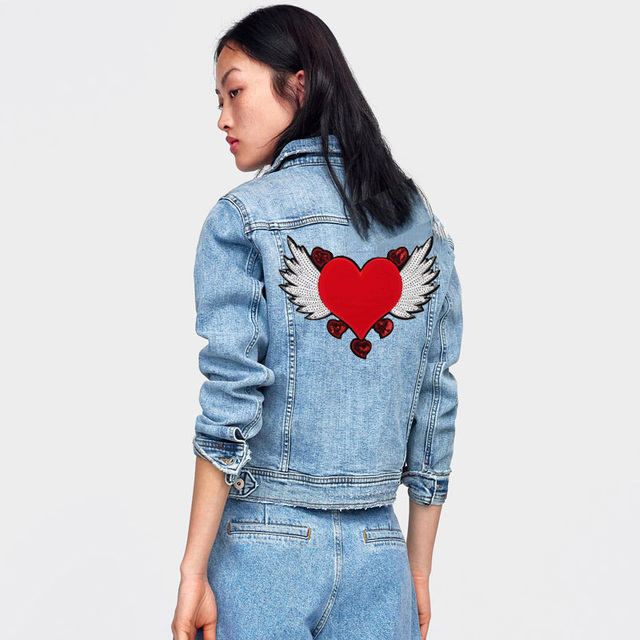 Prajna Fly Wings Red Heart Patch Sewing Embroidered Sequin Patches For Clothes Jacket Fabric Free Heart Patch Angel Jeans Badge