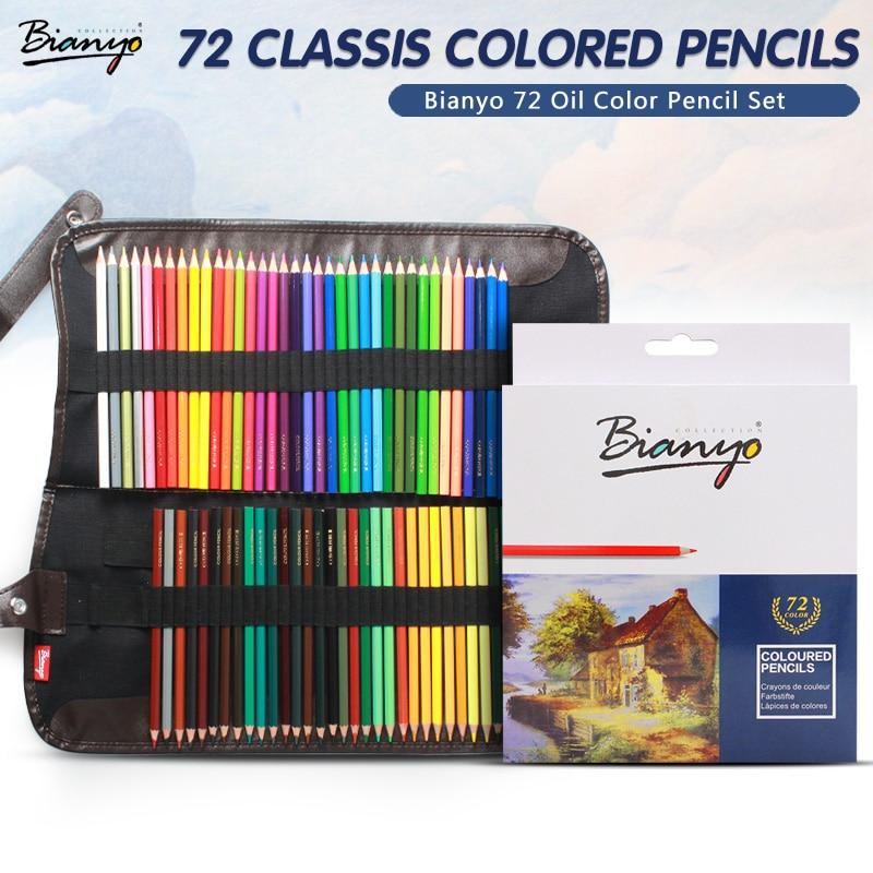 Bianyo 48/72Pcs Color Pencil Set Lapis De Professional Artist Painting Oil Color Pencil For Drawing Sketch School Art Supplies cute lovely color pencil drawing tutorial art book