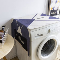 Simple Cotton Linen Art Drum Washing Machine Cover Cloth Single Door Refrigerator Cover Towel Dust Cover Sunscreen Cover