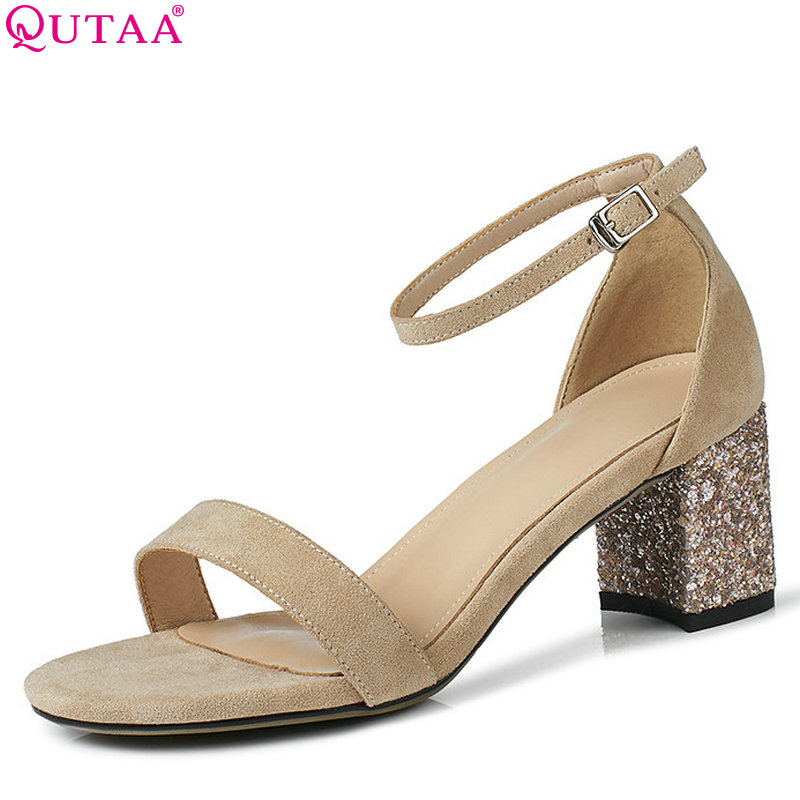 QUTAA 2018 Women Sandals Square High Heel Fashion Bling Women Shoes Casual Simple All Match Round Toe Women Sandals Size 34-43