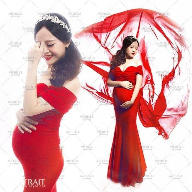 dca4d2c1e Nueva Maternidad las mujeres Fotografía Atrezzo Red Sirena Elegante Sin  Hombro Vestido Noble Sesión de Fotos