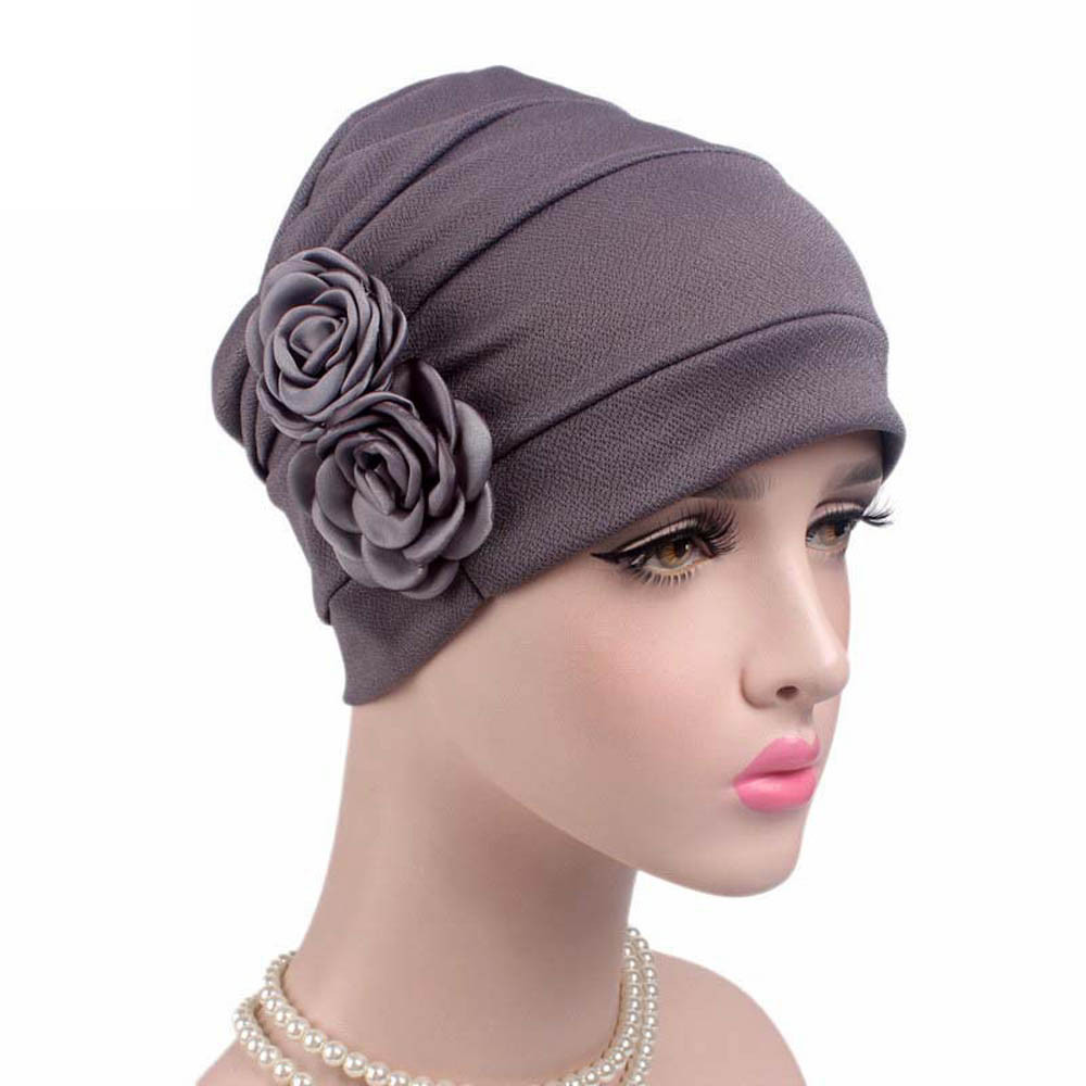 Dropwow Women Large Flower Model Headscarf Solid Chemotherapy Cap ... a845b6faf52f