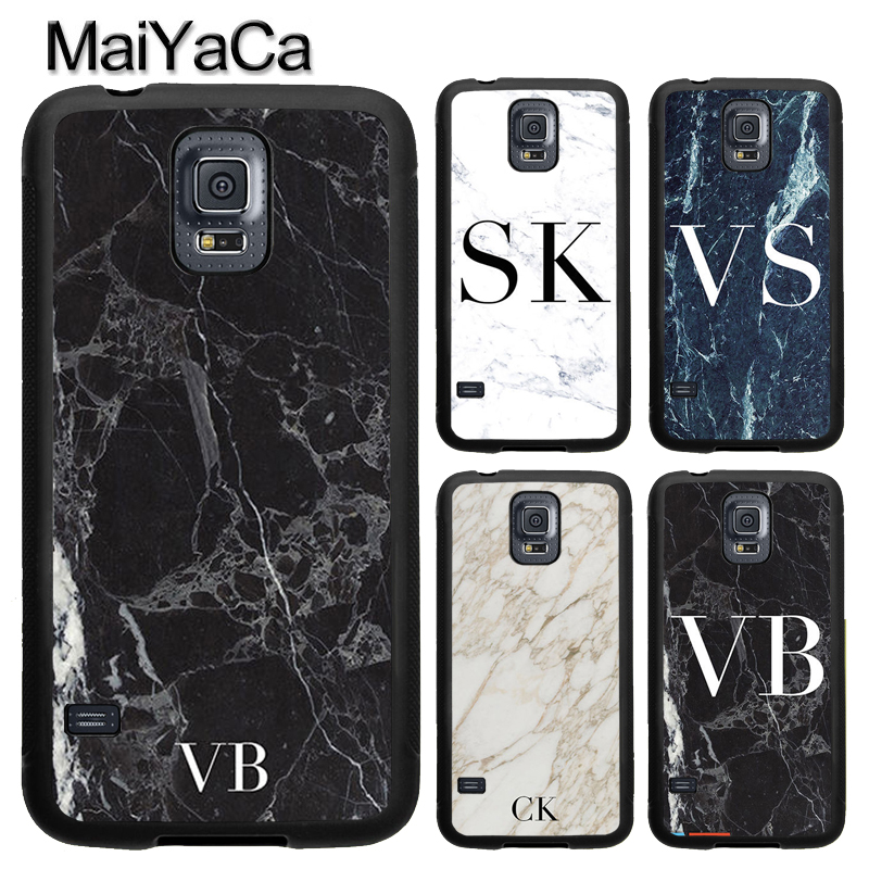 MaiYaCa MONOGRAM PERSONALISED MARBLE INITIALS Case For Samsung S4 S5 S6 S7 edge S8 S9 Plus Note 8 Note 5 Soft Rubber Capa Para