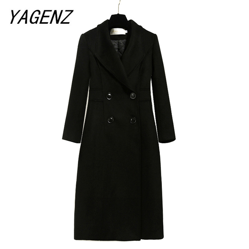 Warm thick plus cotton woolen jacket Women 2019 autumn winter slim elegant black overcoat coat office female long woolen coat