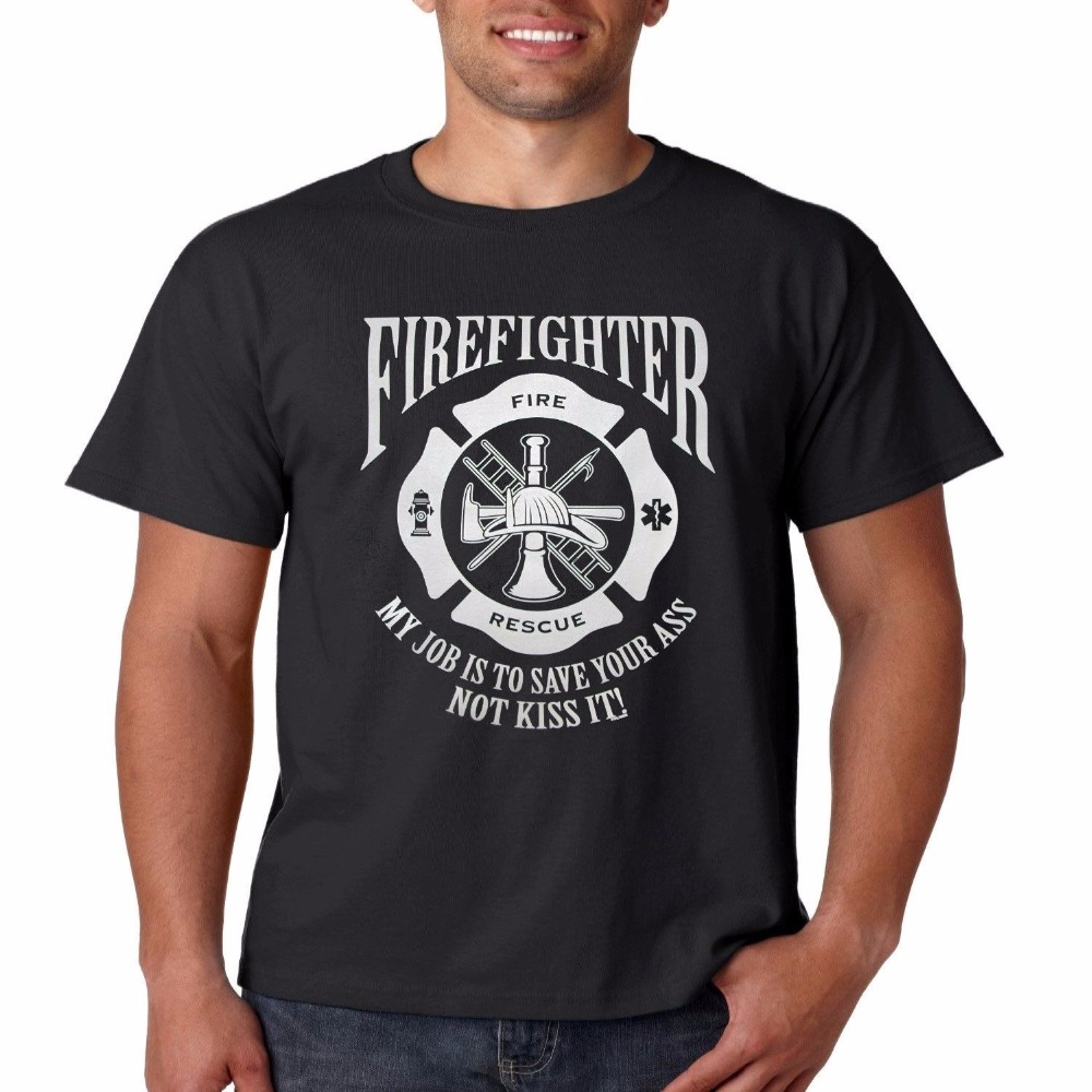 Design your own t-shirt and save it - Personalized Men Fashion Trends Leisure T Shirt Firefighter T Shirt My Job Is To