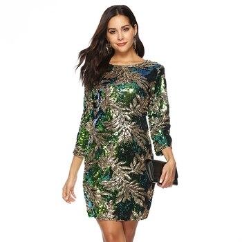 a588515168 2019 Primavera Verano verde Sexy vestido de lentejuelas vestido de las  mujeres 3 4 manga Plus tamaño vestido elegante dama vintage noche de fiesta  bodycon ...