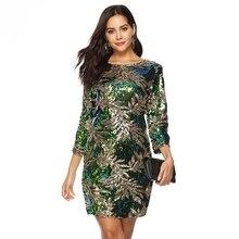 2019 весна лето Сексуальная зеленый блесток женщин платье 3/4 рукав плюс размер платье элегантный Леди ретро вечеринку ночной клуб Bodycon платье