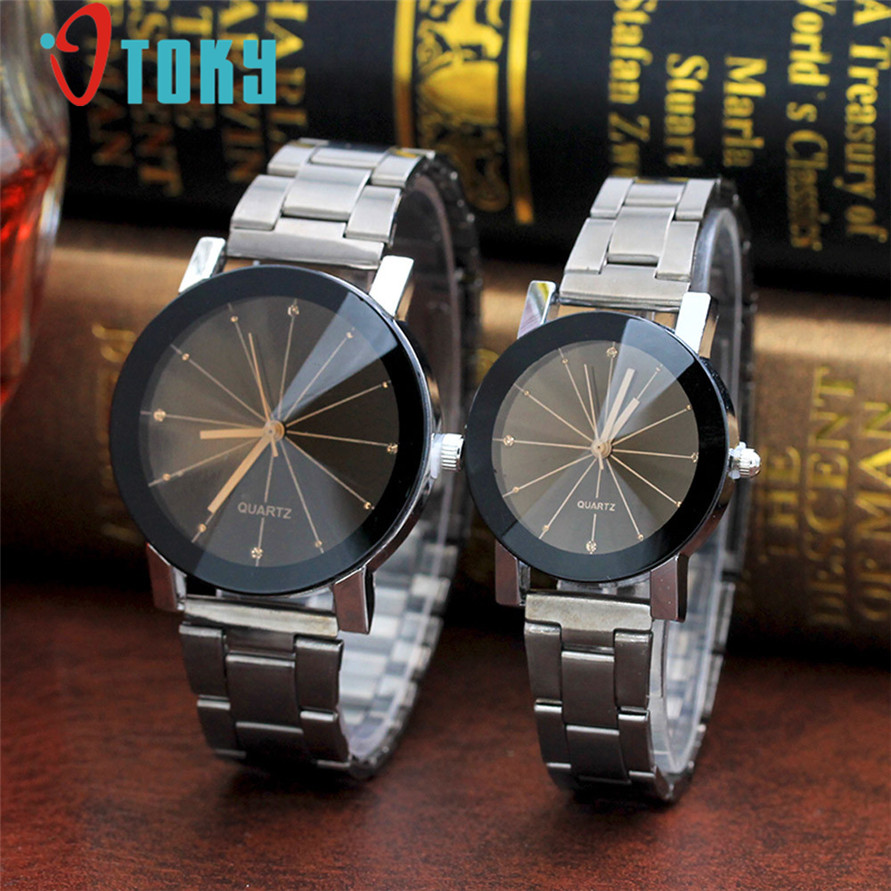 Lover's Watch Men Women OTOKY Fashion Rhinestone Stainless Steel Dress Wrist Watch Drop Shipping 0424