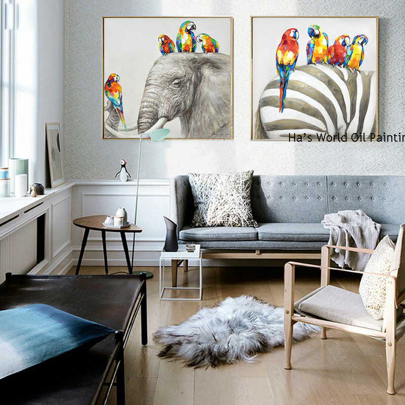 New Modern Hand painted Canvas 2 Pic Oil Painting parrots elephant Painting Wall Animal Picture for Living Room home Decoration