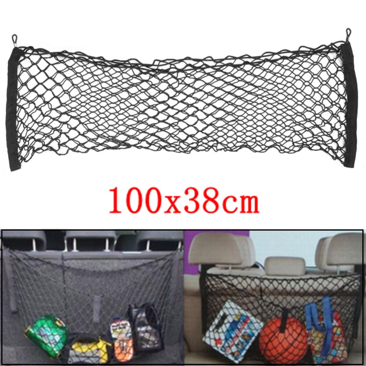 Universal Car Rear Seat Back Trunk Net Mesh Luggage Cargo Storage 100x38cm New