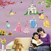 removable diy seven princess birds flower castle wall stickers home decor 5102. for kids rooms girl children's bedroom sticker