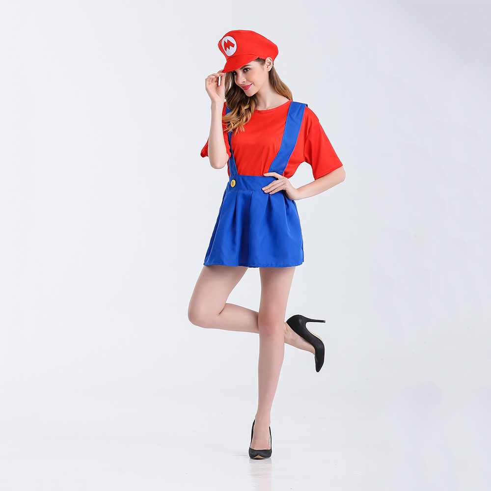 halloween costumes women super mario luigi brothers plumber costume