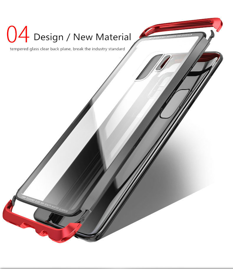 LUPHIE Case For Samsung Galaxy S9 Plus Metal Bumper Clear Tempered Glass Back Cover  (4)