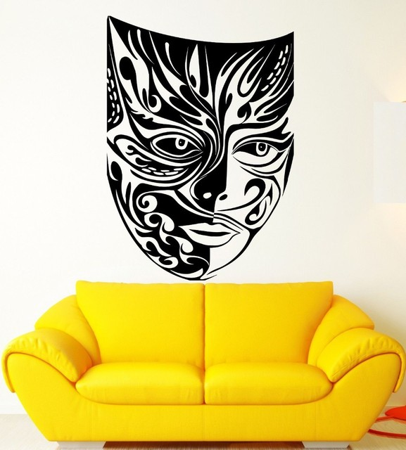 2016 Creative Masquerade Mask Theatre Arts Pattern Wall Sticker ...