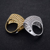 TYME Stainless Steel Exaggerated Atmospheric Hollow Out AAA Zircon Ring Gold Color Couple Wedding Luxury Ring