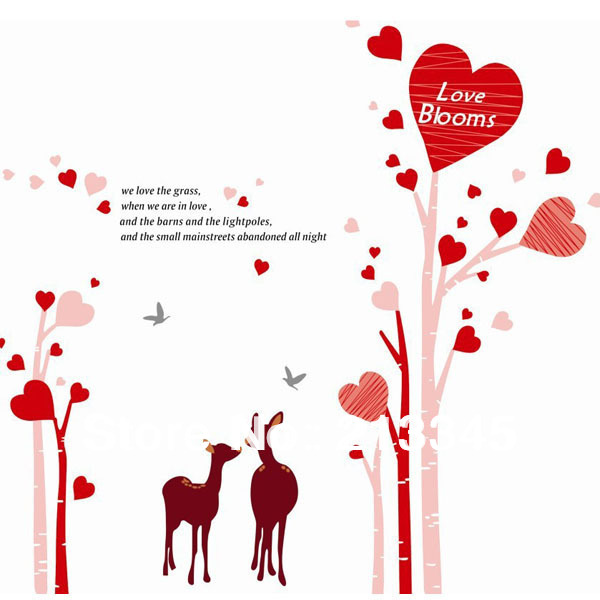 room deco furniture. Fundecor Love Blooms Plants Tree Deer Bedroom Living Room Deco Wall Stickers 6246 Furniture E