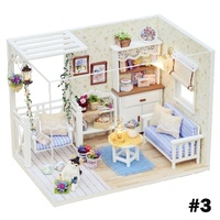 Lovely Kits DIY Miniature Wood Dollhouse With Bed Furniture Cover Doll House With Light Home Decor